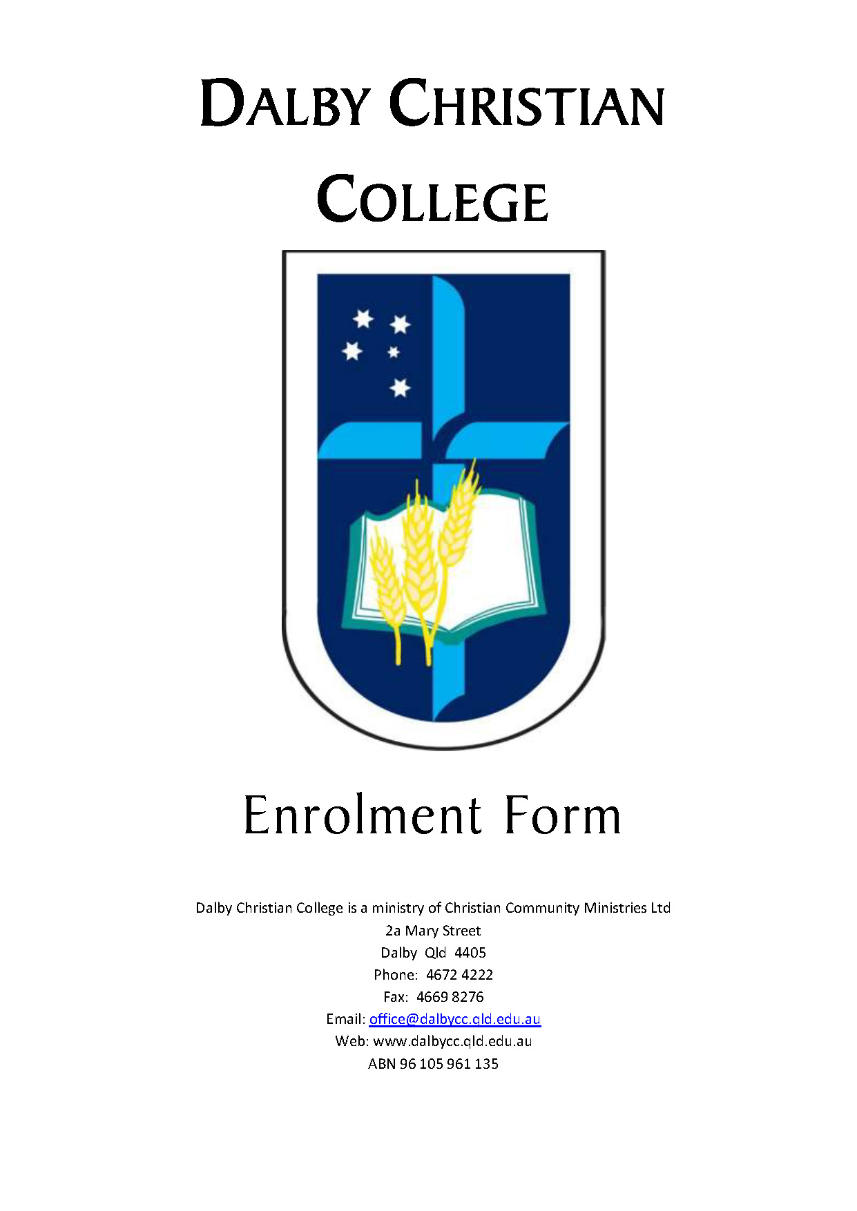 CCM Enrolment Application Form Day School Page 01